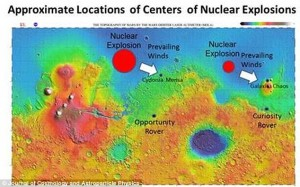 A scientist is to present his theory that ancient life on Mars was massacred. Dr He says there is evidence for two nuclear explosions on Mars.
