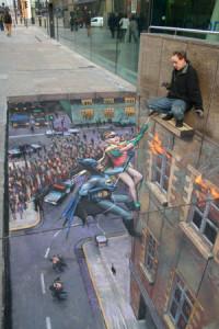 Batman and Robin 3-D pavement art by Julian Beever