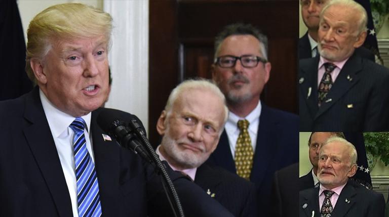 Buzz Aldrin Watches Trump